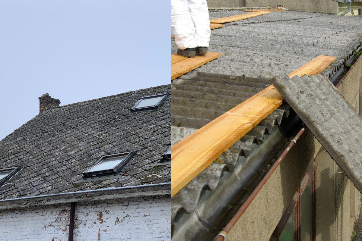 asbest leien en asbest-golfplaten